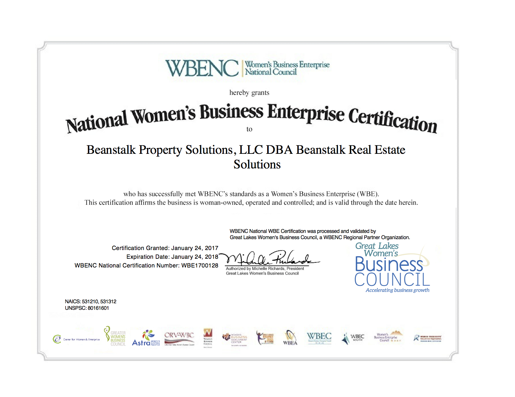 Wbenc Certified January 2017 Beanstalk Real Estate Solutions